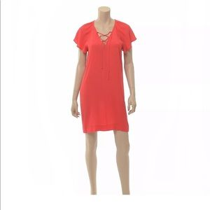 Madewell Red Casual Dress size Medium V-neck Tie